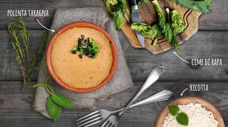 Cannelloni di polenta taragna, ricotta e cime di rapa